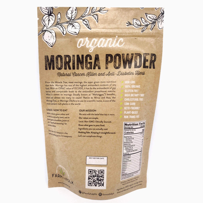 Farm to Folk Organic Moringa Powder 250g