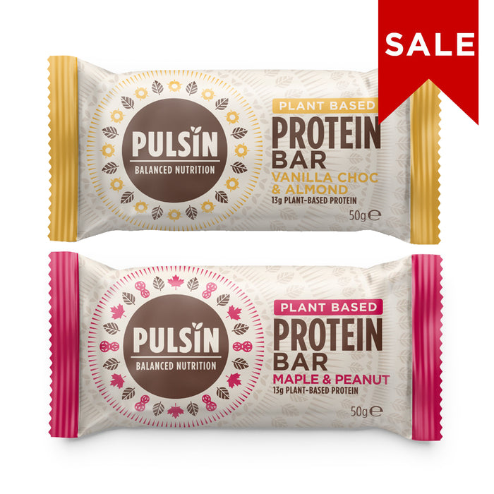 Pulsin Protein Bar Bundle 2: Maple Peanut & Vanilla Choc Chip 50g
