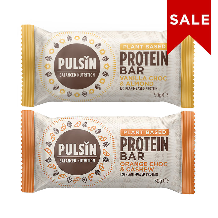 Pulsin Protein Bar Bundle 4: Vanilla Choc Chip & Orange Choc Cashew 50g