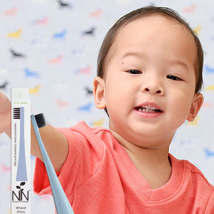 Nature To Nurture Wheat Straw Bamboo Charcoal Toothbrush, 1-3yrs (Blue)