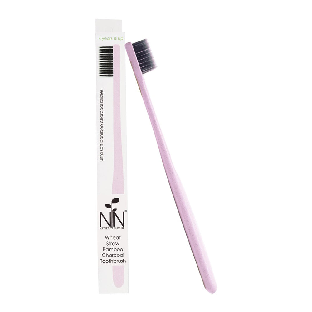 Nature To Nurture Wheat Straw Bamboo Charcoal Toothbrush, 4yrs+ (Pink)