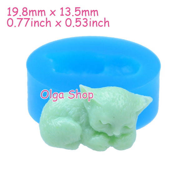D006 moule fimo moule silicone animal chat (19.8x13.5mm)