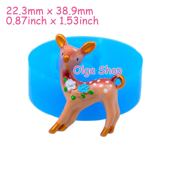 D023 moule fimo moule silicone animal biche (22.3x38.9mm)