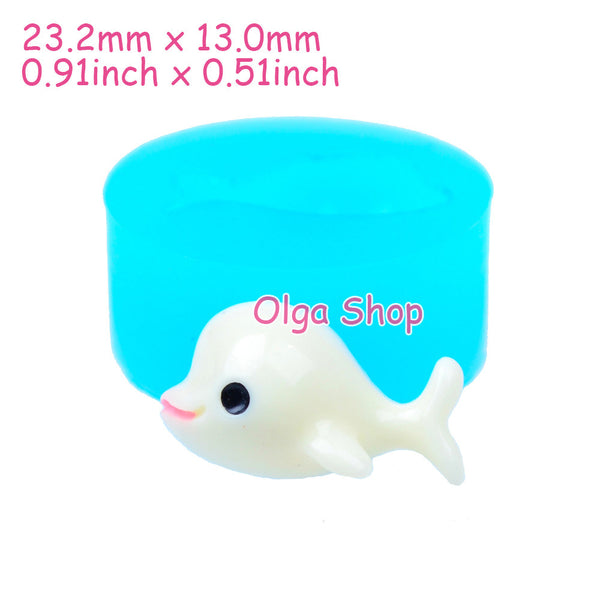 D025 moule fimo moule silicone animal dauphin (23.2x12mm)
