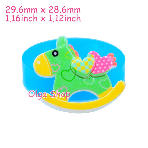 D026 moule fimo moule silicone animal cheval à bascule (29.6x28.6mm)