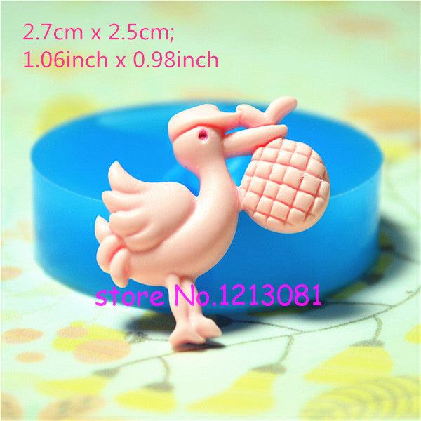 D031 moule fimo moule silicone animal cigogne (27x25mm)