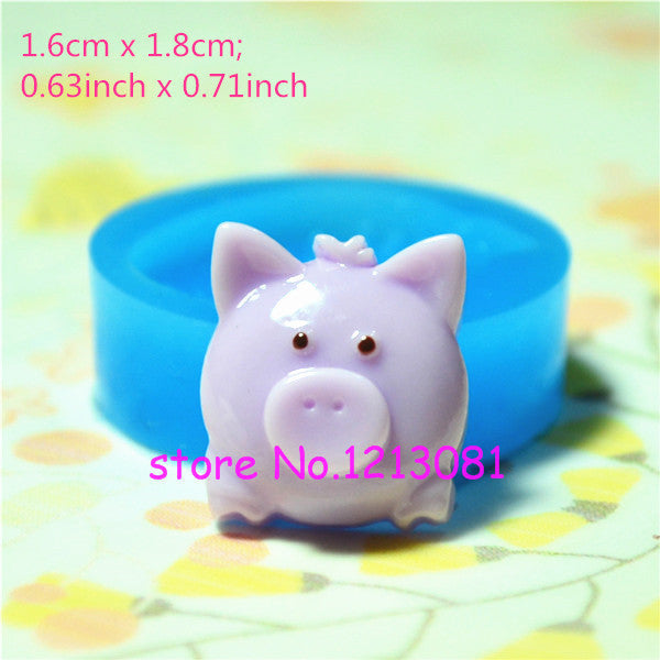 D032 moule fimo moule silicone animal cochon (16x18mm)