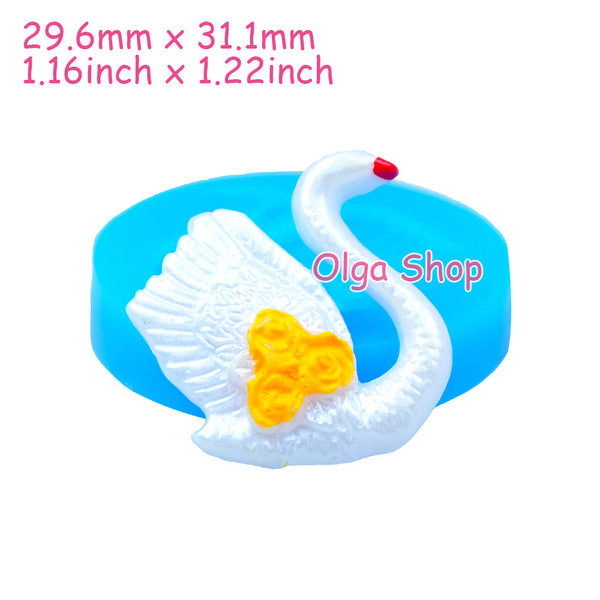 D035 moule fimo moule silicone animal cygne (29.6x31.1mm)