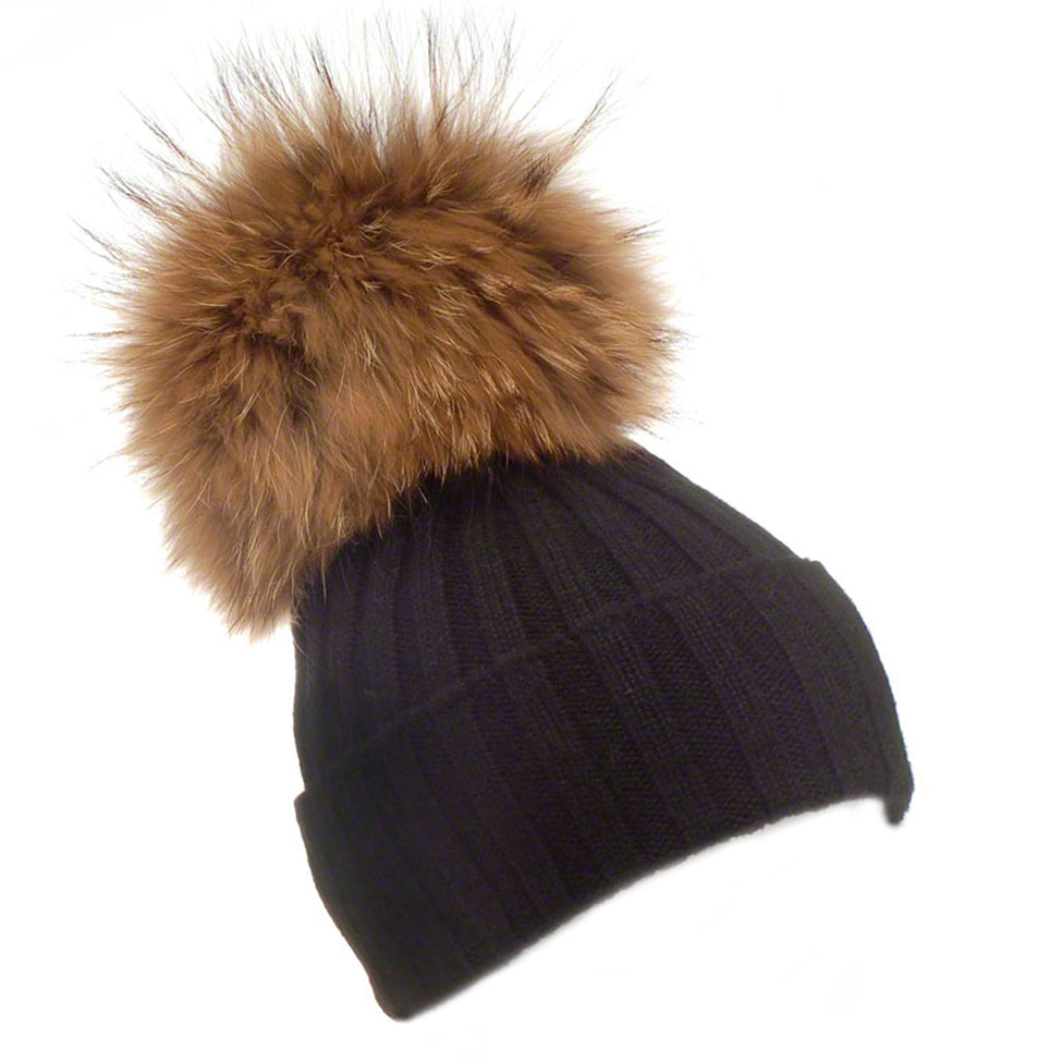Black wool beanie with large raccoon pompom - Ellimonelli