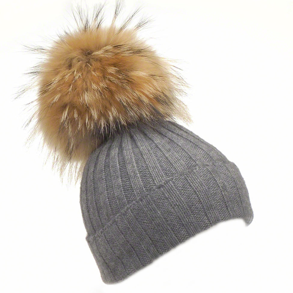 Charcoal wool beanie with large raccoon pompom - Ellimonelli