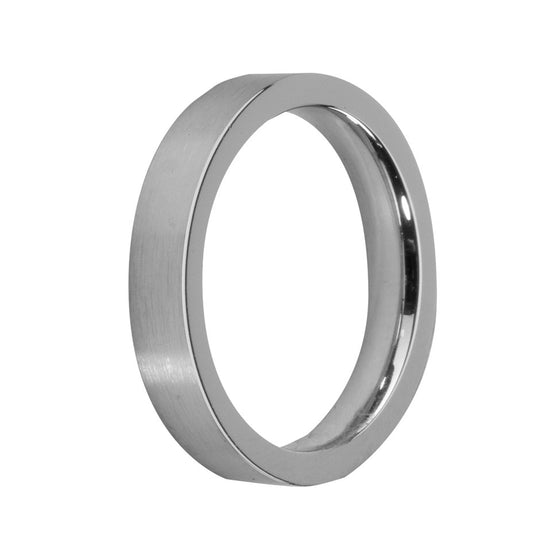 MelanO stainless steel matt plain flat ring - Ellimonelli