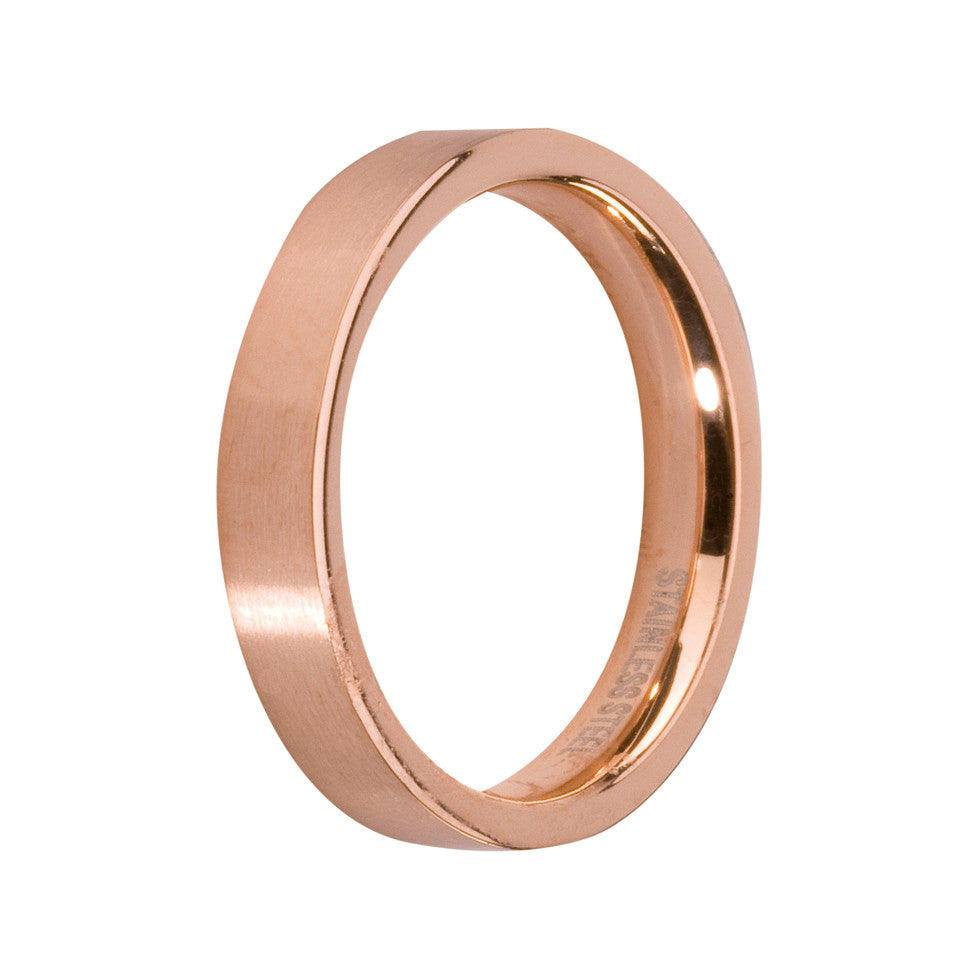 MelanO rose gold gloss plain flat ring - Ellimonelli