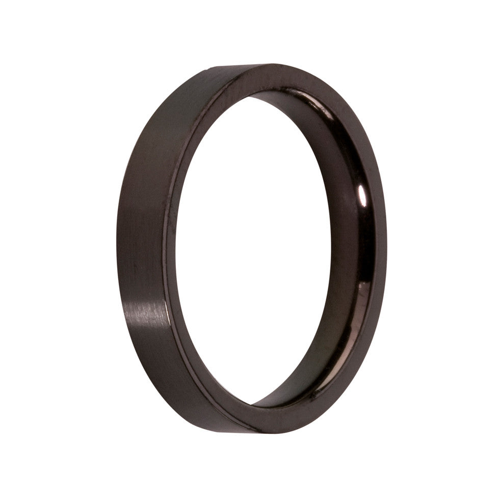 MelanO black gloss plain flat ring - Ellimonelli