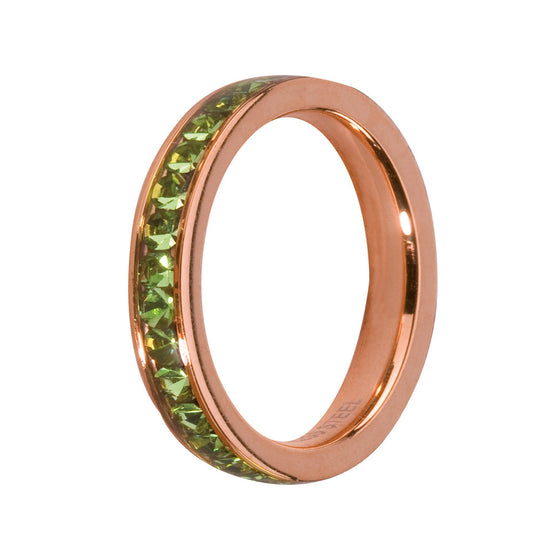 MelanO peridot/rose gold lined jewel ring - Ellimonelli