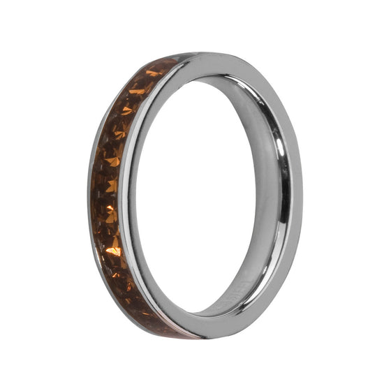MelanO coffee/stainless steel lined jewel ring - Ellimonelli