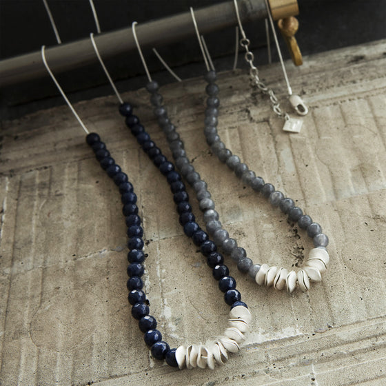 Tutti antique silver finish long navy stone/chain necklace - Ellimonelli