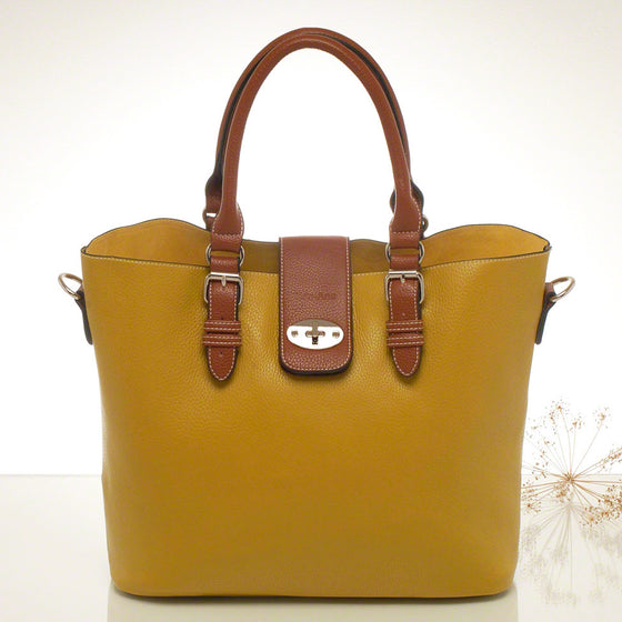Kris-ana mustard hand or shoulder tote with matching clutch set