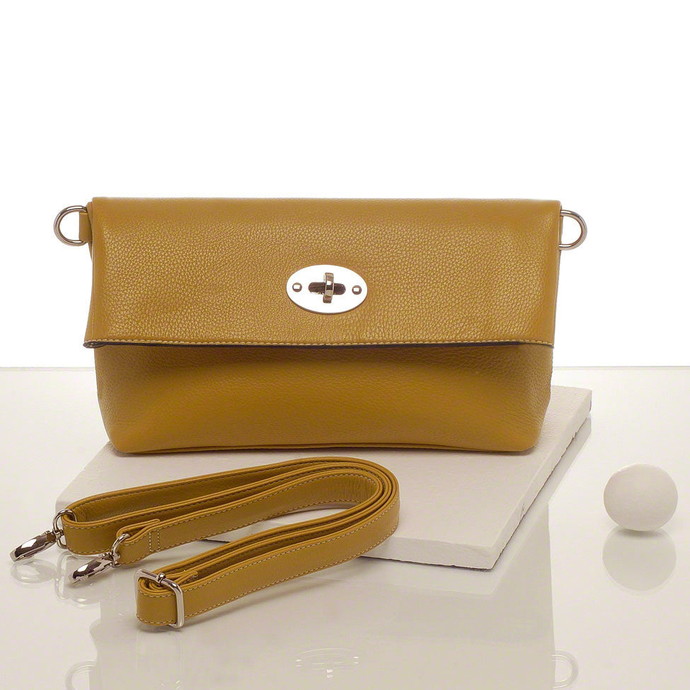 Kris-ana mustard hand or shoulder clutch complete with tote