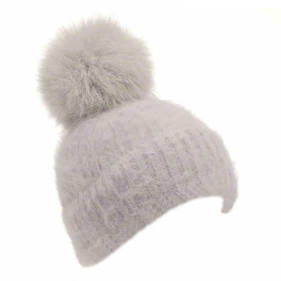 Grey knitted angora beanie with fox pompom - Ellimonelli