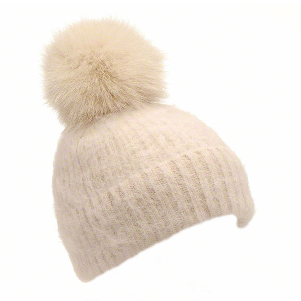 Beige knitted angora beanie with fox pompom - Ellimonelli