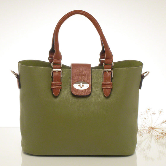 Kris-ana moss green hand or shoulder tote with matching clutch set