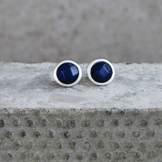 Tutti antique silver finish navy stone stud earrings - Ellimonelli