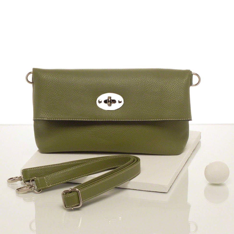 Kris-ana moss green hand or shoulder clutch complete with tote