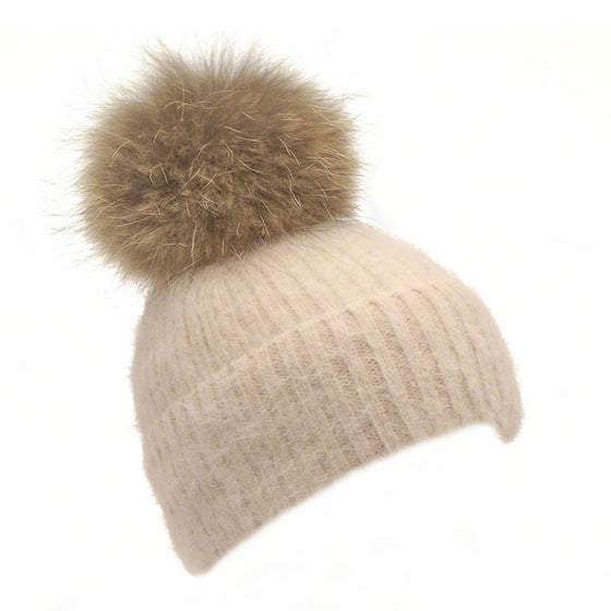 Beige knitted angora beanie with raccoon pompom - Ellimonelli
