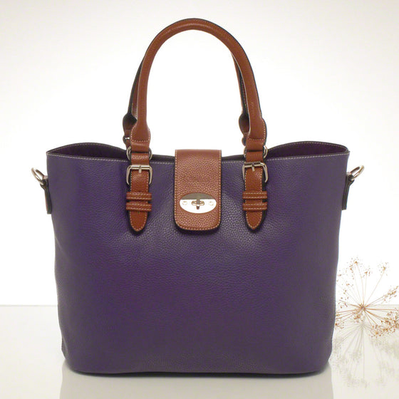 Kris-ana purple hand or shoulder tote with matching clutch set