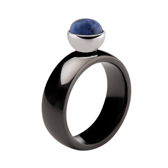 MelanO black bevelled ceramic ring - Ellimonelli