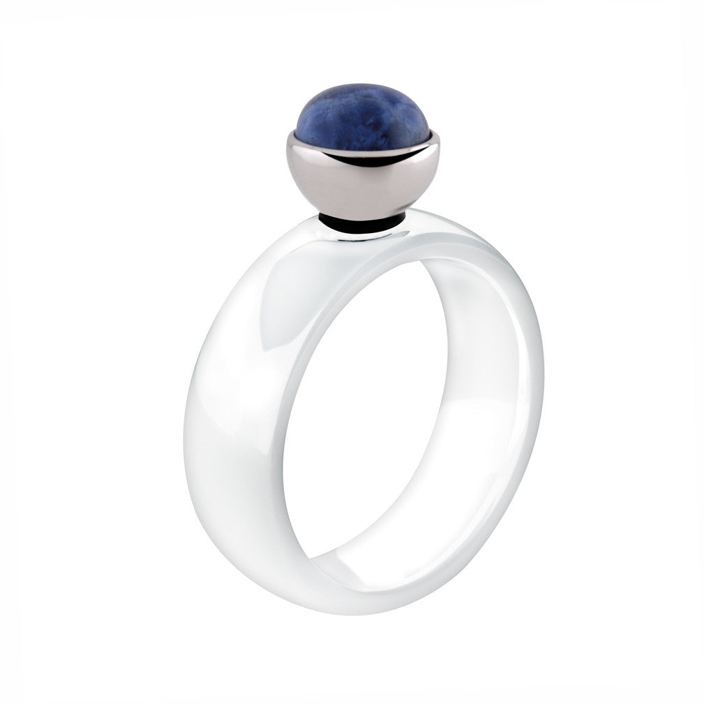 MelanO white bevelled ceramic ring - Ellimonelli