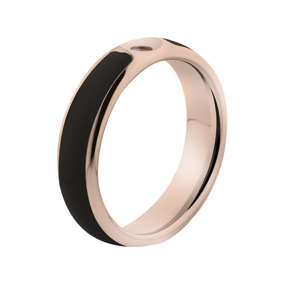 MelanO black/rose gold lined resin ring - Ellimonelli