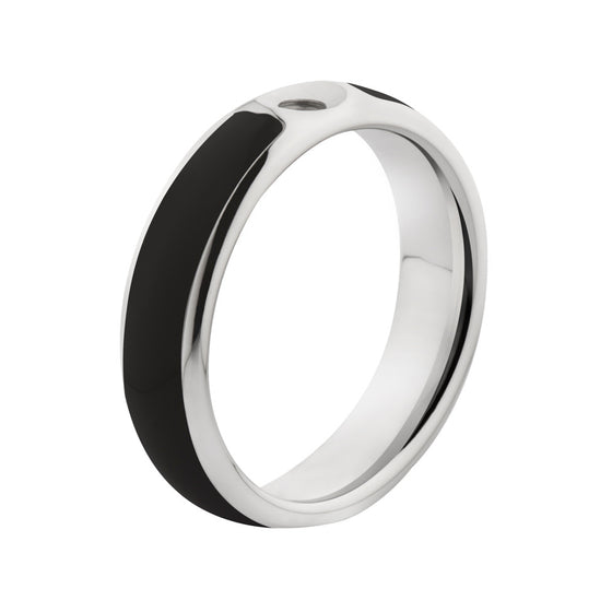 MelanO black/stainless steel lined resin ring - Ellimonelli