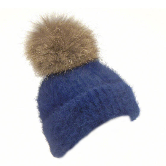 Navy knitted angora beanie with raccoon pompom - Ellimonelli