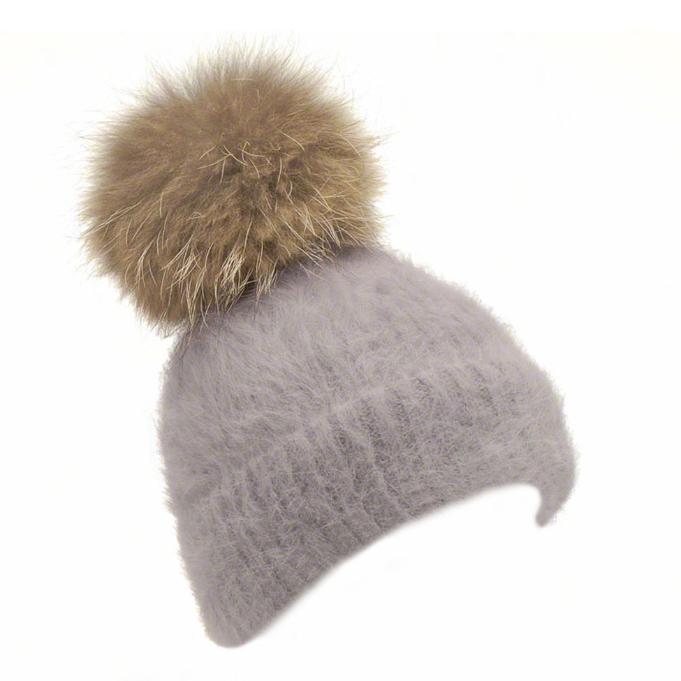 Grey knitted angora beanie with raccoon pompom - Ellimonelli
