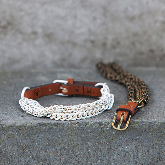 Tutti antique silver finish chain and leather buckle bracelet - Ellimonelli