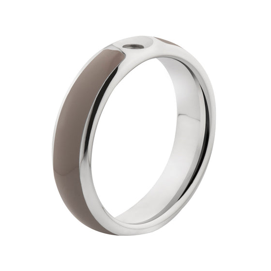 MelanO taupe/stainless steel lined resin ring - Ellimonelli
