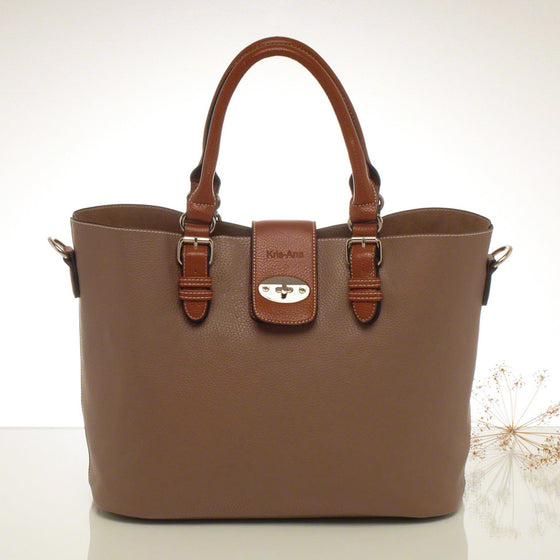 Kris-ana taupe hand or shoulder tote with matching clutch set