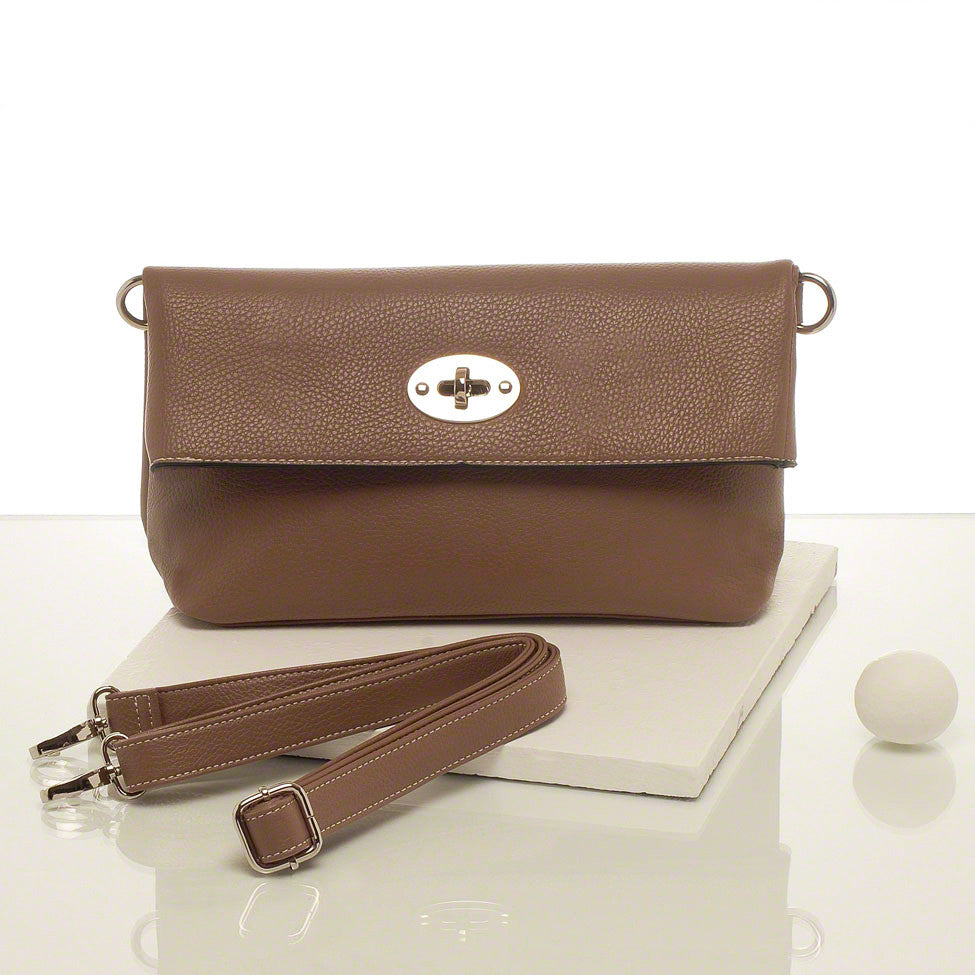 Kris-ana taupe hand or shoulder clutch complete with tote