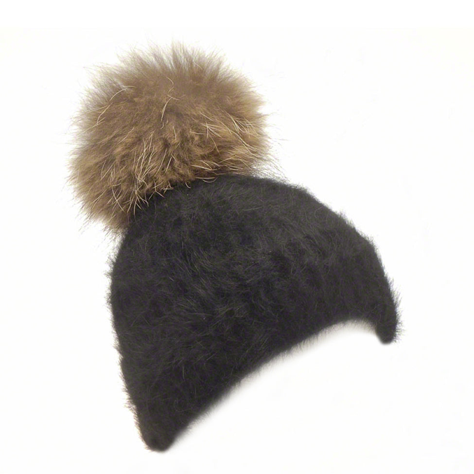Black knitted angora beanie with raccoon pompom - Ellimonelli