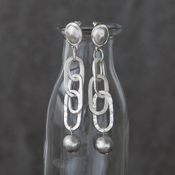 Tutti antique silver finished long oval chain stud earrings - Ellimonelli