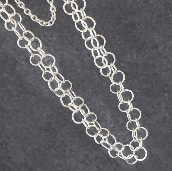 Tutt antique silver finish long 2-strand chain necklace - Ellimonelli