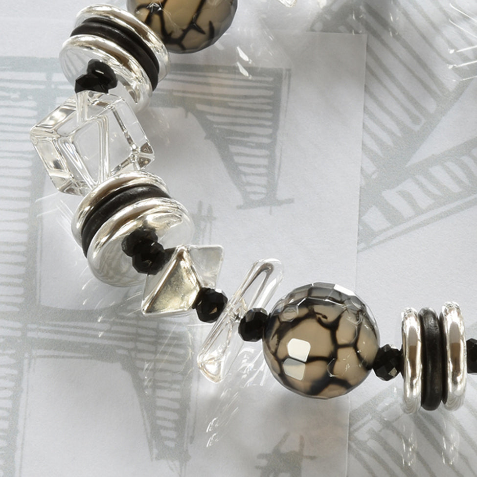 Aleggra semi-precious crystal, black agate and silver bracelet by Elli