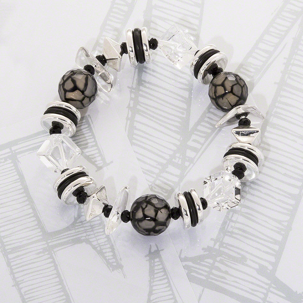 Aleggra semi-precious crystals, black agate and silver bracelet by Elli