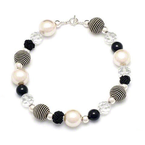 Capri quirky black/white cord and silver neckalce by Elli