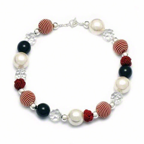 Capri quirky red/white cord and silver neckalce by Elli