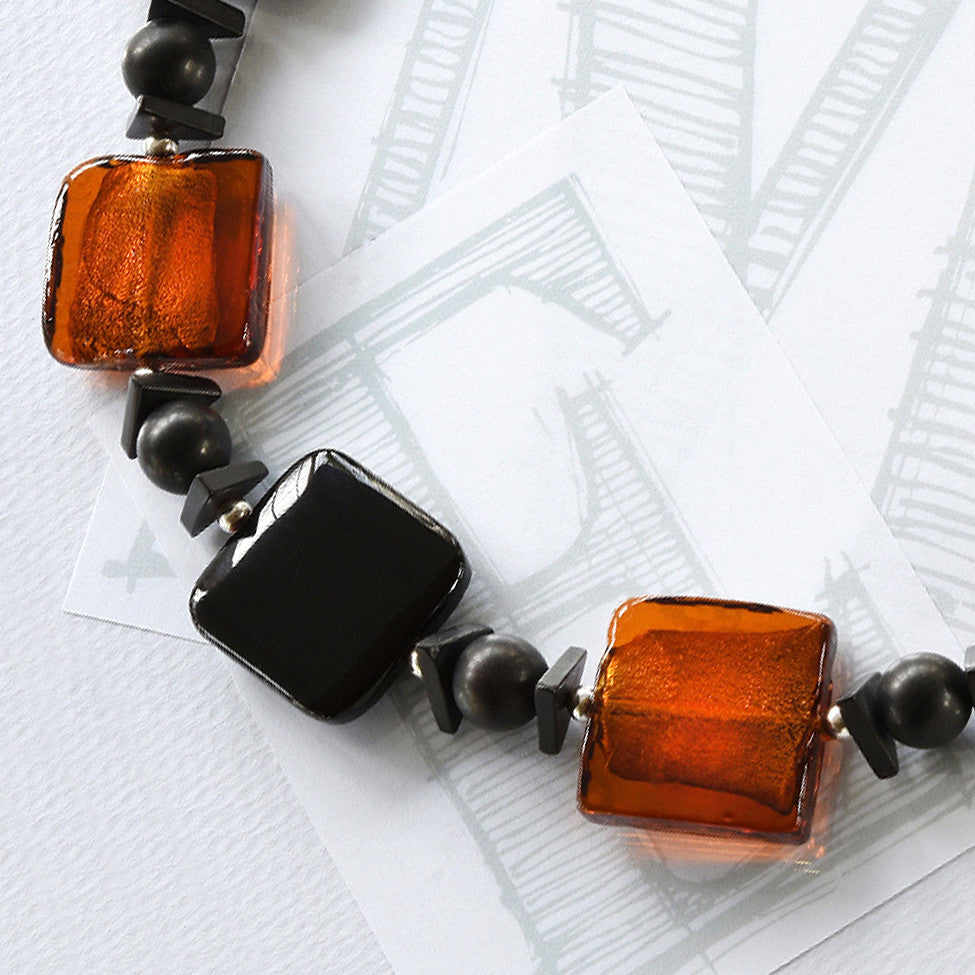 Darcy square black agate, amber glass and silver necklace by Elli