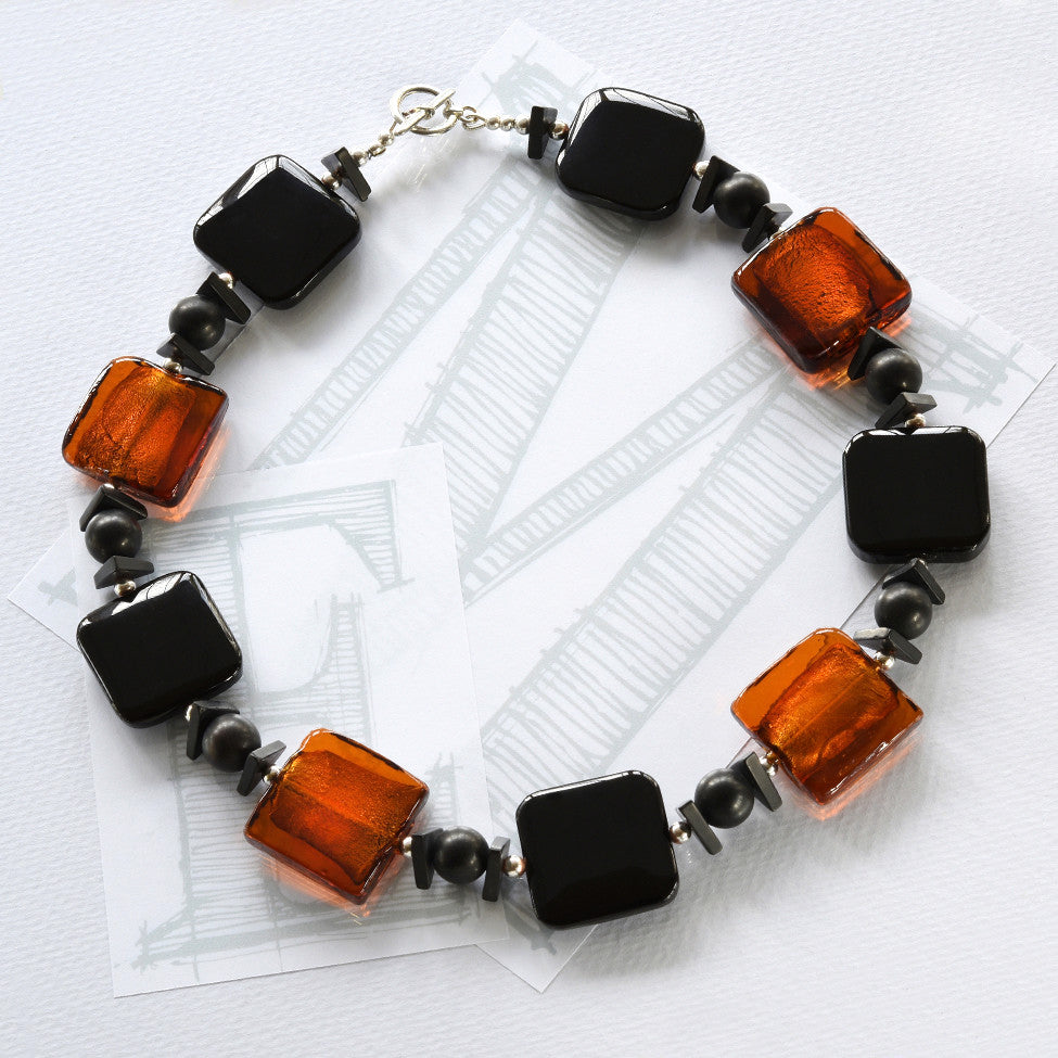 Darcy black agate, amber glass and silver necklace by Elli