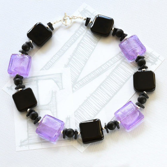 Darcy black agate, lilac glass and silver necklace by Elli