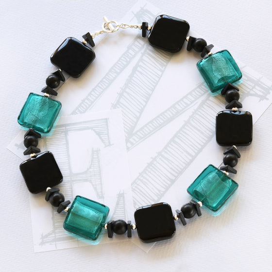 Darcy black agate, turquoise glass and silver necklace by Elli